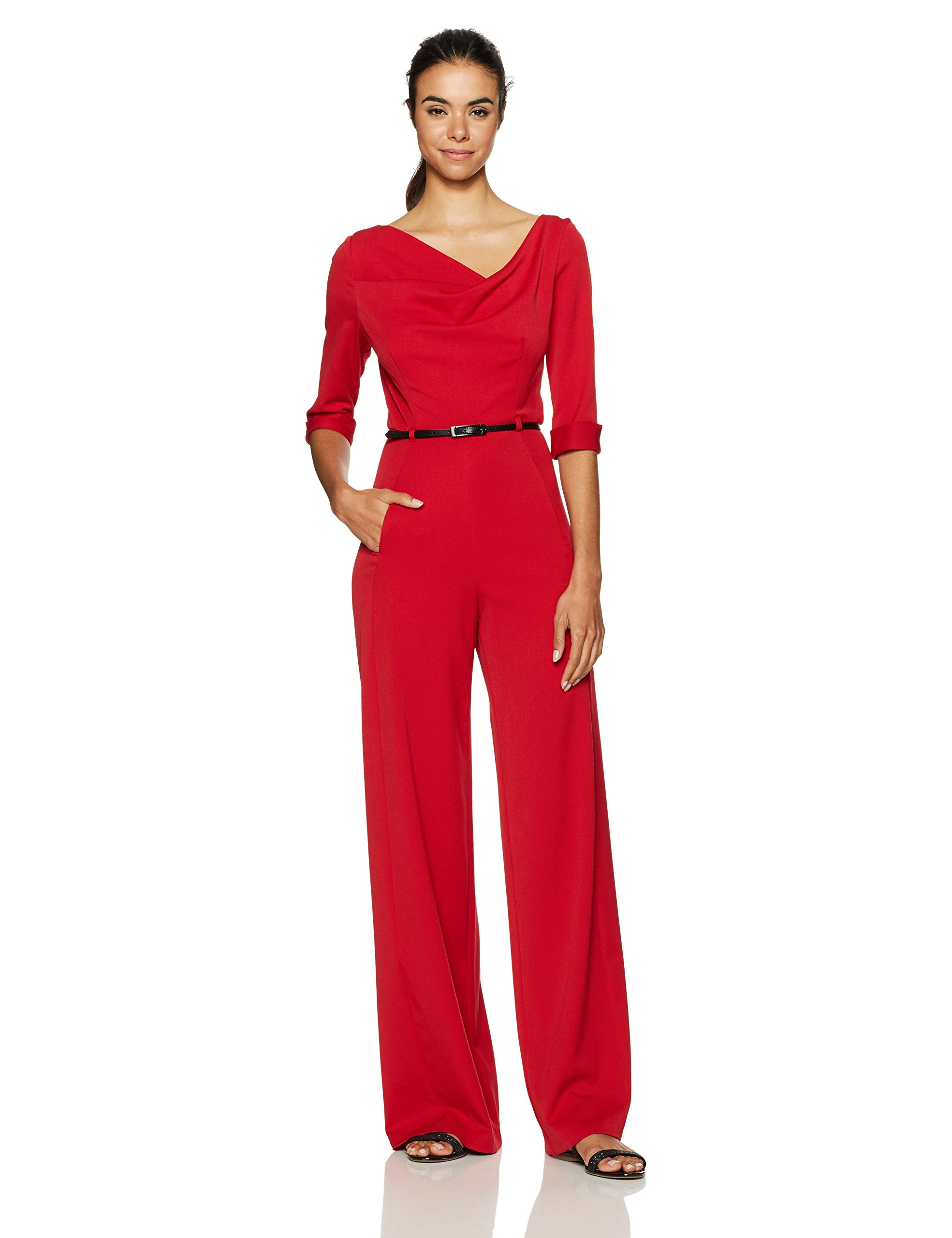 Black Halo Women's 3/4 Sleeve Jackie Jumpsuit, Red, 10