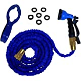 RAAYA Expandable 50 Foot Hose Kit by Garden Hose with Expanding 3 Layers Brass Shut-Off Valve, 8-Setting Spray Nozzle, 6 Washers, Hose Hanger - Strong, Flexible, Heavy Duty!