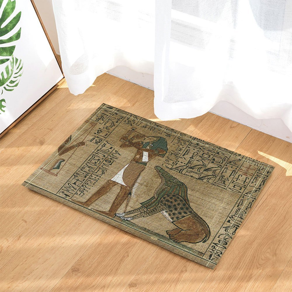 Accesorios de ba/ño Antideslizante Interior y Exterior Nyngei Alfombrilla de ba/ño egipcia con dise/ño de Papyrus Depicting The Horus 60 x 40 cm para Entrada de Suelo