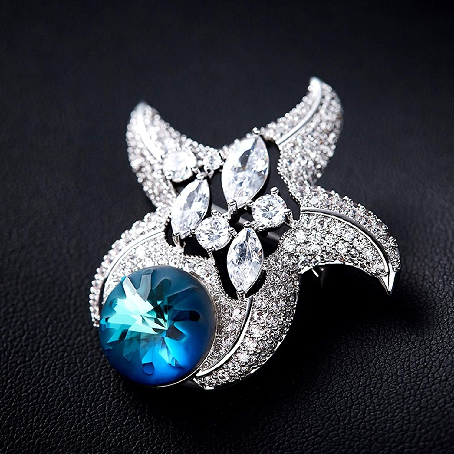 Aokarry Jewelry Women Alloy Brooch Pin Starfish Brooches Blue