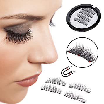 ad2a65d345c Amazon.com : YCM 3 Magnetic False Eyelashes [ No Glue Needed ] Full Strip  3D Magnetic Eyelashes Hair Reusable Fake Eye Lashes (1 Pair 4 Pieces) :  Beauty
