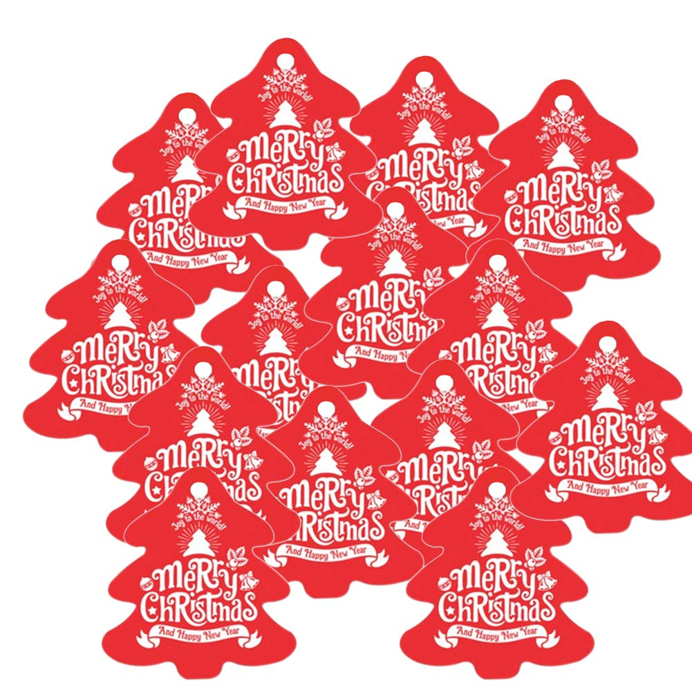 LAAT. 100 PCS Etichette a Forma di Albero di Natale Etichette per Regali Natalizi Etichetta di Natale Natale Adesivi apposti Etichette per Regalo(5cm X 5, 5cm)