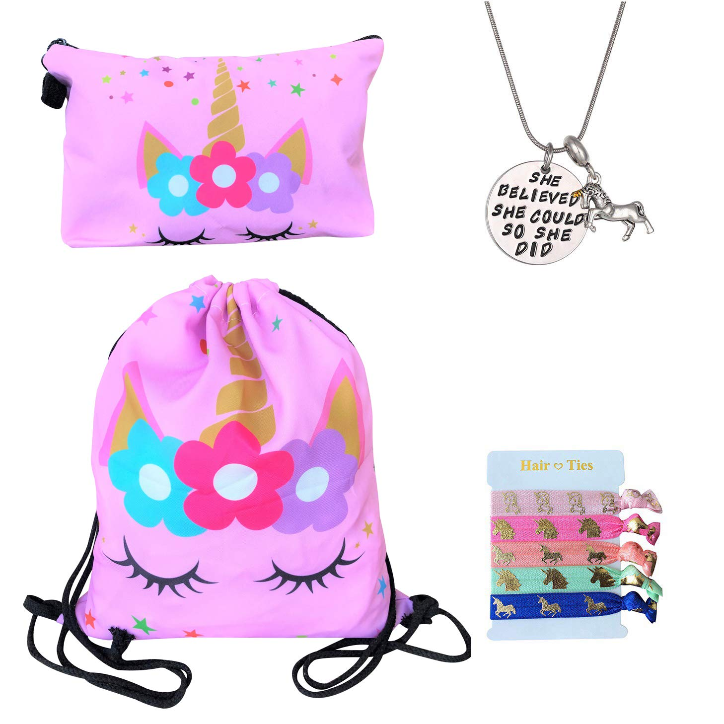 Unicorn Gifts for Girls - Unicorn Drawstring Backpack/Makeup Bag/Inspirational Necklace/Hair Ties (Pink Star Unicorn)