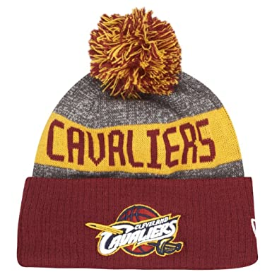 5230baadd65 New Era Cleveland Cavaliers Bobble Hat - NBA Team Colour Knit - Grey- Burgundy 1-Size  Amazon.co.uk  Clothing