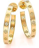Tory Burch Pierced T Logo Hoop Earrings 16k Shiny Gold Plated