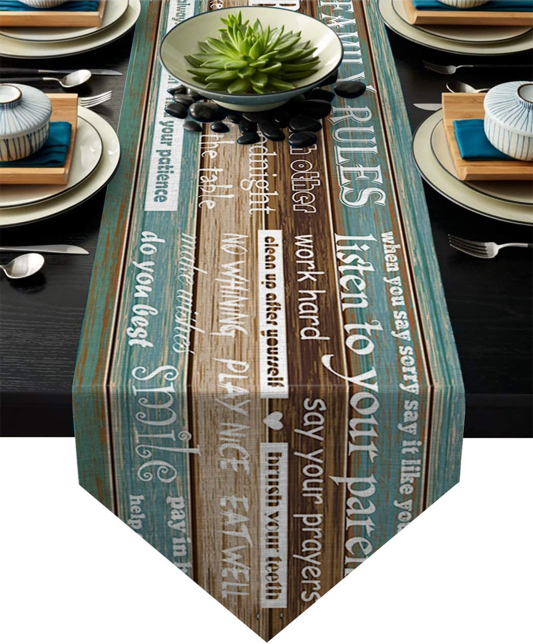 Rustic Farmhouse Indoor-Outdoor LEO BON Dining Table Runner Family Rules Words on Retro Wood Grain Table Runners for Kitchen Table Dresser Weddings,13x70inch