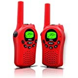 Walkie Talkies for Kids, 22 Channel Walkie Talkies 2 Way Radio 3 Miles (Up to 5Miles) FRS/GMRS Handheld Mini Walkie Talkies for Kids (Pair) (Red)