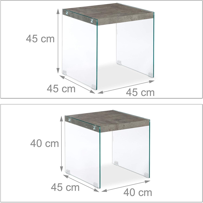 Mesitas de Centro Efecto M/ármol relaxdays Gris Mesas Nido Cuadradas en Set de 2 Unidades DM-Cristal 40 /& 45 cm