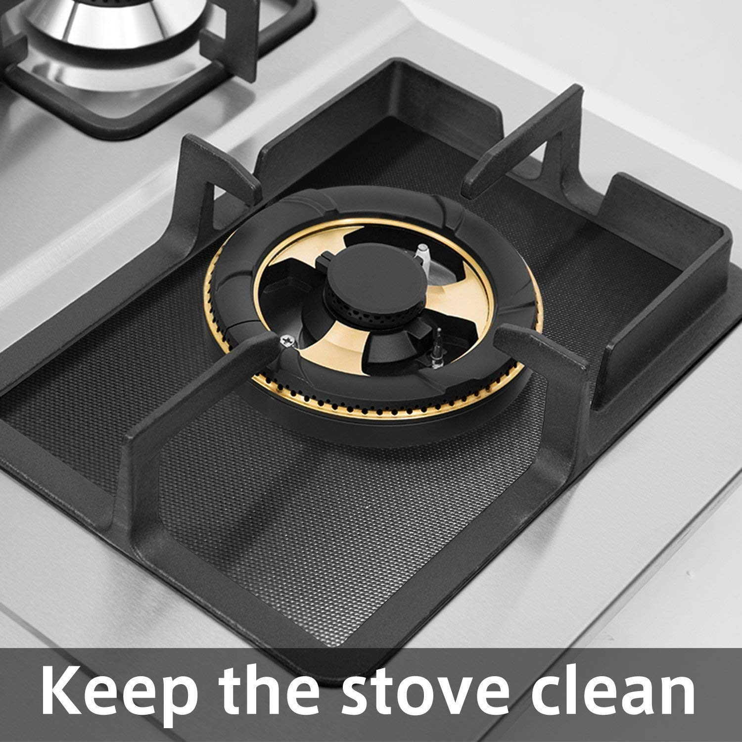 """RCruning-EU Gas Hob Range Protectors Set of/4 Gas Stove Burner Covers 0.12 mm 10.6/""""x 10.6/"""" for Kitchen Cooking-Silver"""