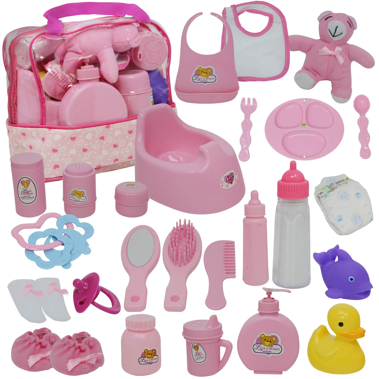 07664733dde5 Baby Doll Diaper Bag Set, Doll Feeding Set with Baby Doll Accessories  Includes Doll Bottles