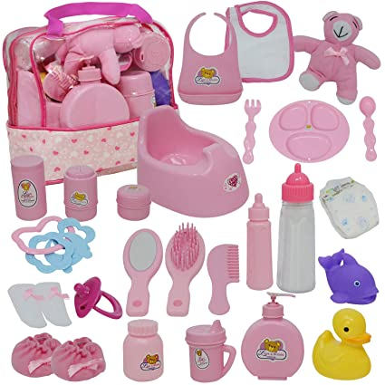 6c6288a5b1 Amazon.com: Baby Doll Diaper Bag Set, Doll Feeding Set with Baby Doll  Accessories Includes Doll Bottles: Toys & Games