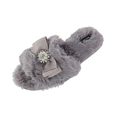 Pretty You London Women's Anya Slide Slipper with Bow and Rhinestone | Shoes