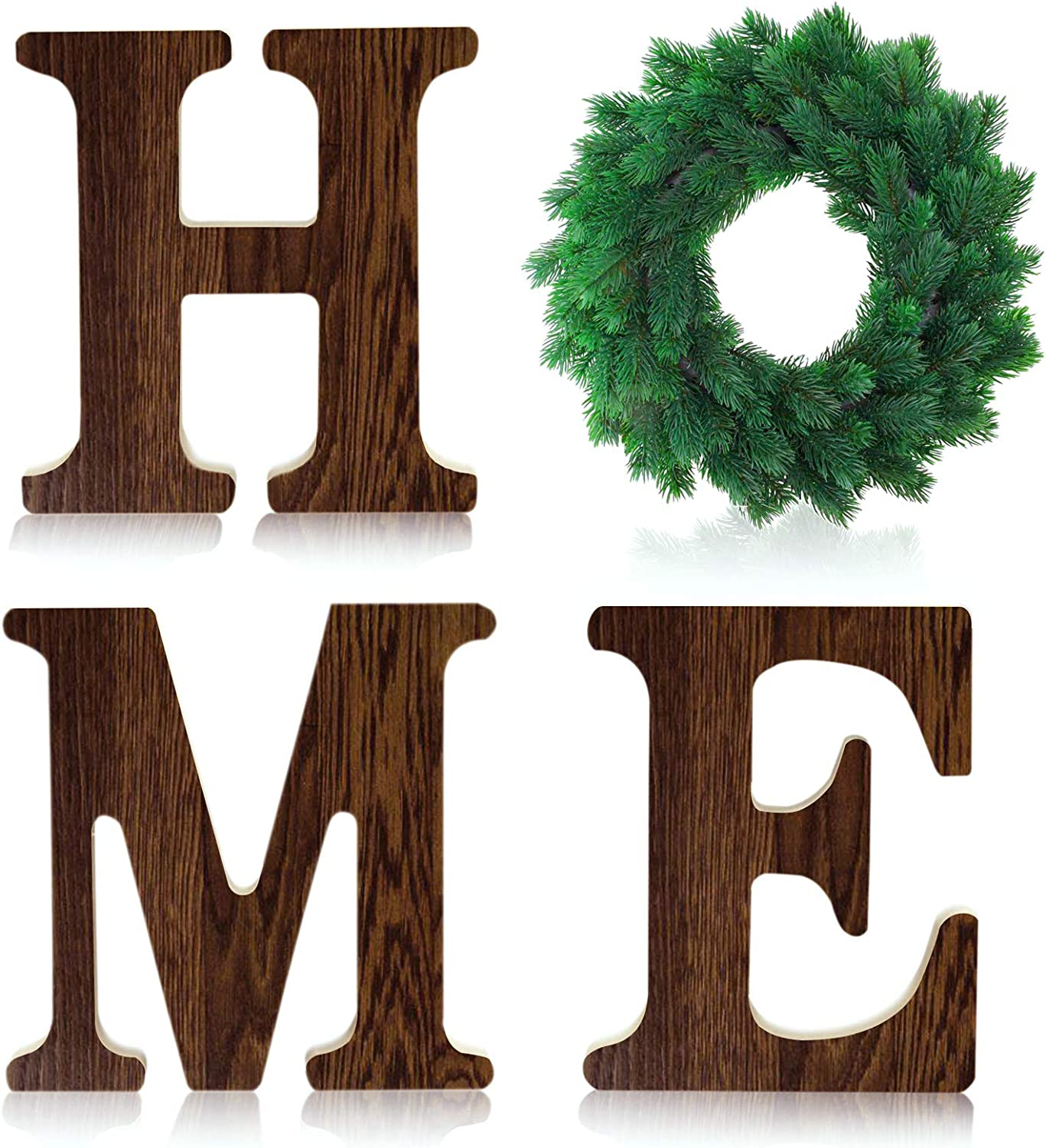 Wooden Home Letters 12 Inch Rustic Home Sign with Wreath Farmhouse Decor for Home Wall Decoration - Self-Adhesive Wooden Home Sign