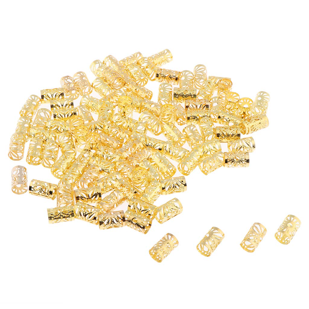 D DOLITY 100 Pcs Dreadlock Beads Dread Lock Cuffs Braid Rings Hairdressing Jewelry Kits - Golden, as described