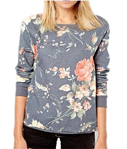 Tayaho Camisetas de manga larga Mujeres Camisas Casual Cuello Redondo Manga Larga Tops Elegante Moda Impreso Camiseta Blusa Sudadera Flores T-Shirt Bonitas ...