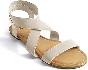 SANDALUP Women's Elastic Flat Sandals Grey Size: 5: Amazon
