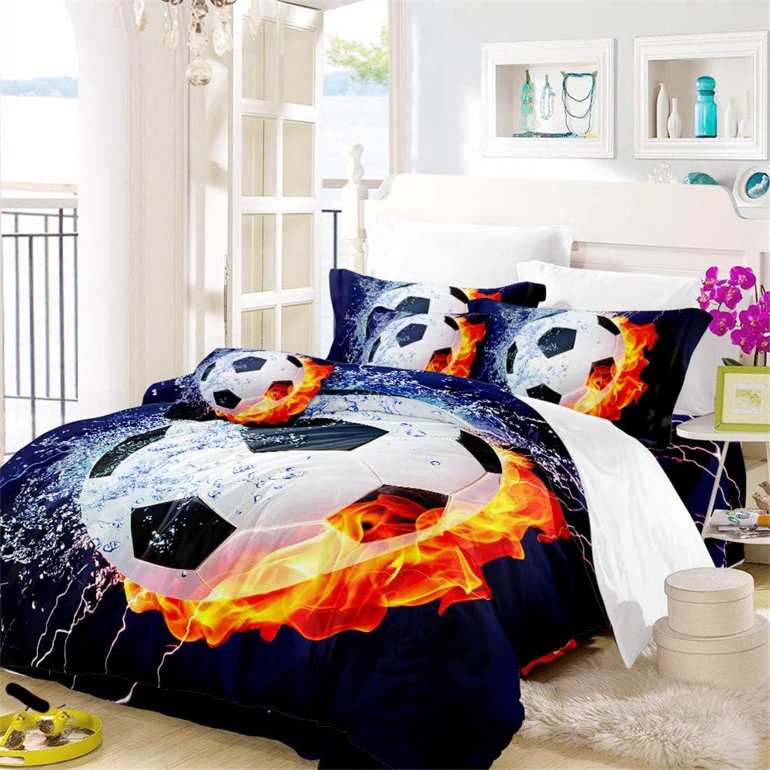 Oliven 3D Boys Bedding Sets Full Size Soccer Ball/Football 100% Breathable Polyester Kids Duvet Cover Set 3 Pcs,No Comforter and Sheet