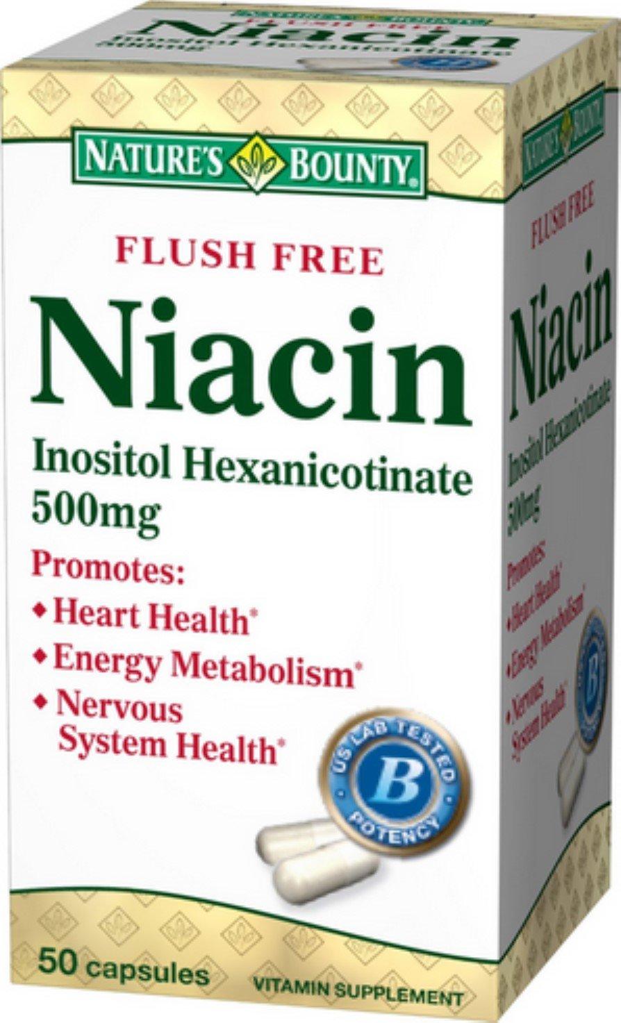 Nature's Bounty Niacin 500 mg Capsules Flush Free 50 ea (Pack of 10)