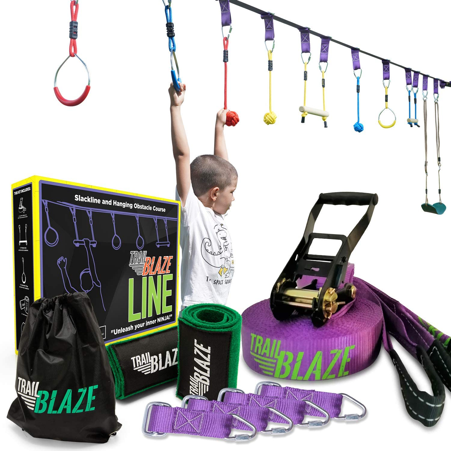 Ninja Slackline Hanging Obstacle Ninja Course - 50 Ninja Line Monkey Bars Kit + Bonus Seat Swing - More Obstacles than Ever w/ Adjustable Positions - ...