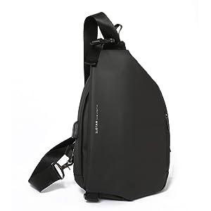 SLOTAM ボディバッグ ワンショルダー 斜めがけ 防水 容量拡張可能 USB充電ポート 盗難防止 メンズ ブラック