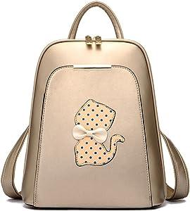 Backpack Women Black Back Pack School Bags Teenage Girls Gold Pu Cat Gold
