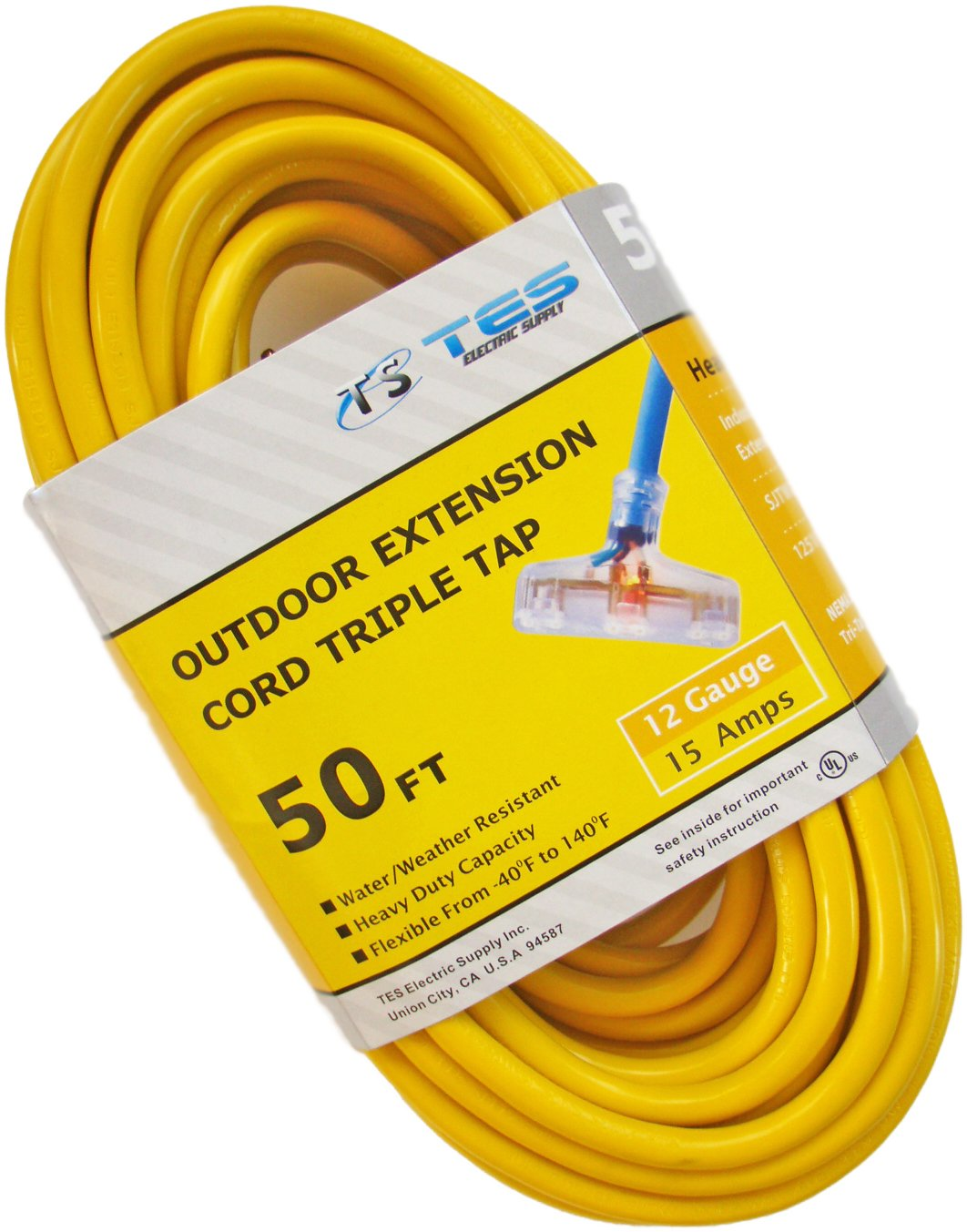 TES 12 Gauge 50 Ft. 12/3 Triple Tap SJTW Heavy Duty Extension Cord with Lighted Plug