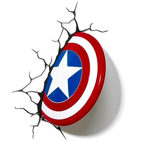 3D Deco Light   Captain America Shield Childrenu0027s Wall Lamp