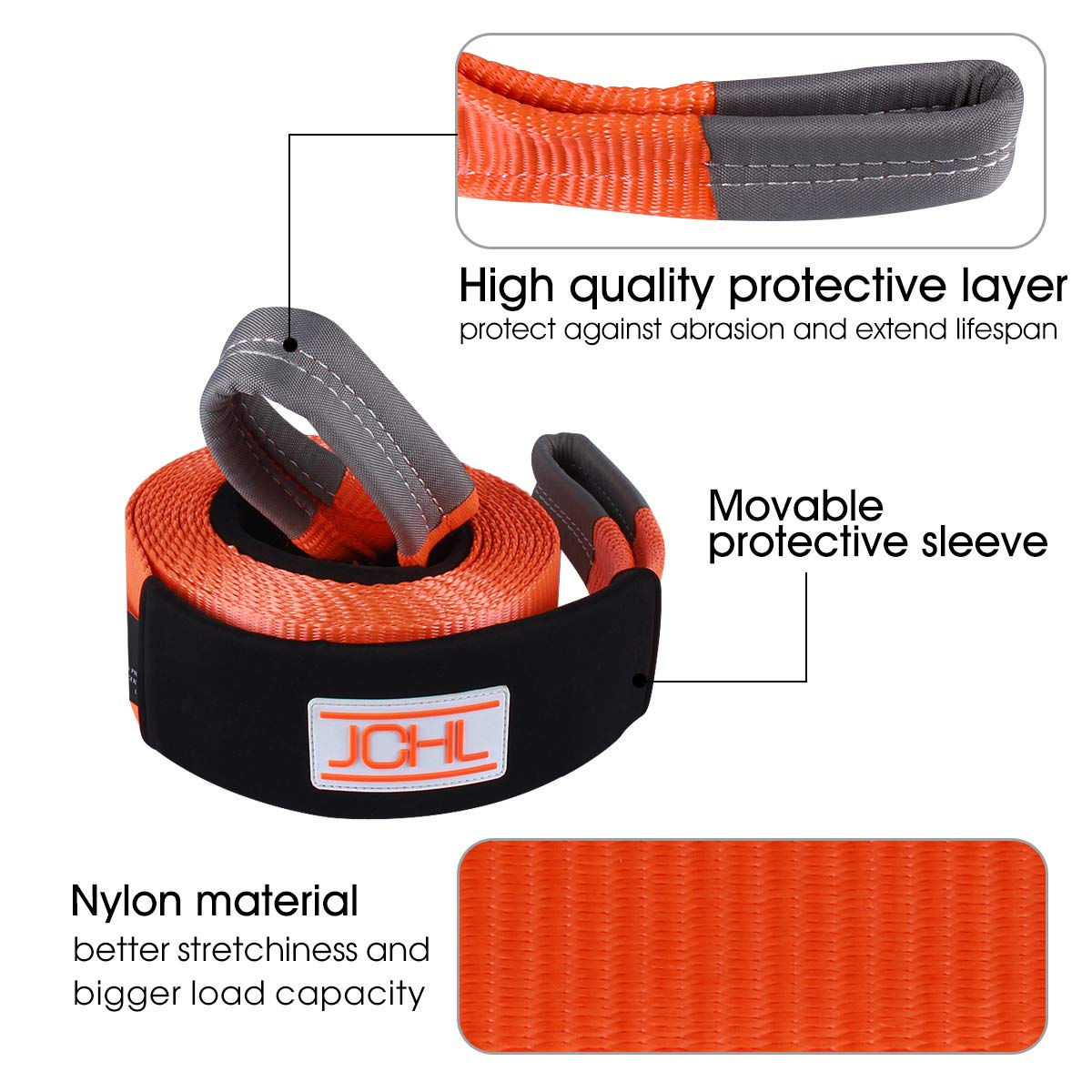 Storage Bag Emergency Towing Rope for Recovery JCHL Recovery Tow Strap Heavy Duty Draw String 3x20ft 35000LBS 18TON Reinforced Loops Rated Capacity Off Road Towing Rope Protective Sleeves