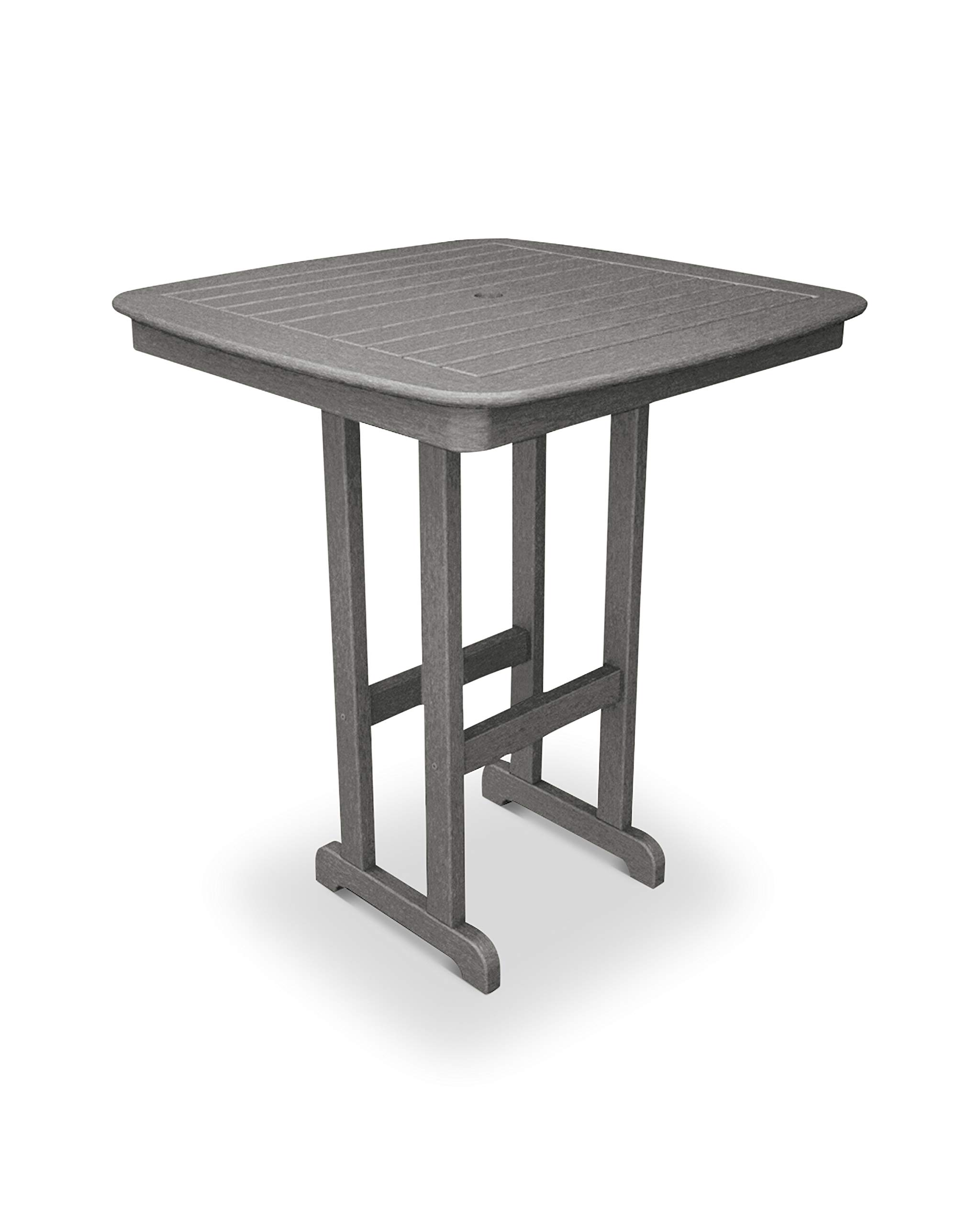 POLYWOOD NCBT37GY Nautical Bar Table, 37-Inch, Slate Grey