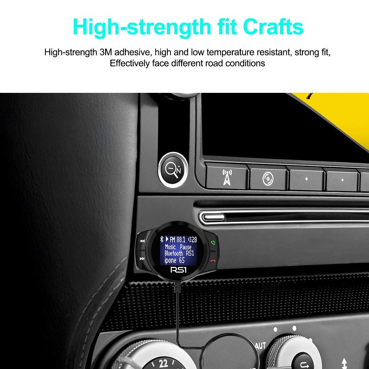 Nrpfell Rs1 FM /émetteur Kit Voiture Bluetooth Lecteur Mp3 LED Dual USB Chargeur DE Voiture 3.1A Lecteur Mp3 Bluetooth Voiture Grand /écran