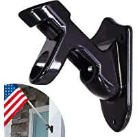Anley Two-Position Flag Pole Holder | Mounting Bracket with Hardwares - Made of Cast Iron - Strong and Rust Free Coated - 1″ Inner Diameter (Black)