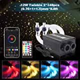 Car Use Bluetooth Twinkle RGBW Fiber Optic Light, APP/Remote Music Mode Star Ceiling Headliner Light Kit Mixed 296pcs(0…