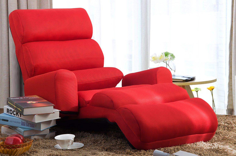 Merax Flodable Floor Seat Chair Cushion Foldable Sofa Chair (Red)