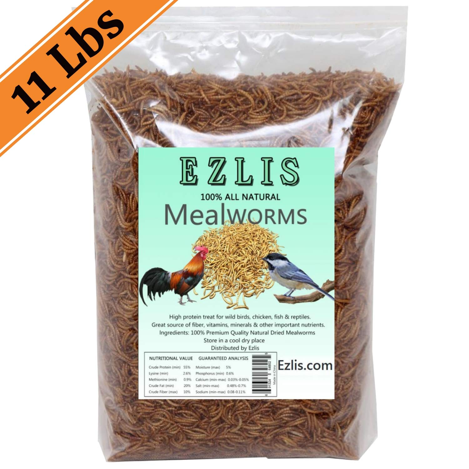 Ezlis Dried Mealworms for Chickens 11lbs, Chicken Treats, Duck Feed, Organic Chicken Feed, High-Protein Meal Worms Bulk Food for Chickens, Bluebird Food, Poultry Feed, Hens, Wild Birds, Fish, Turtle