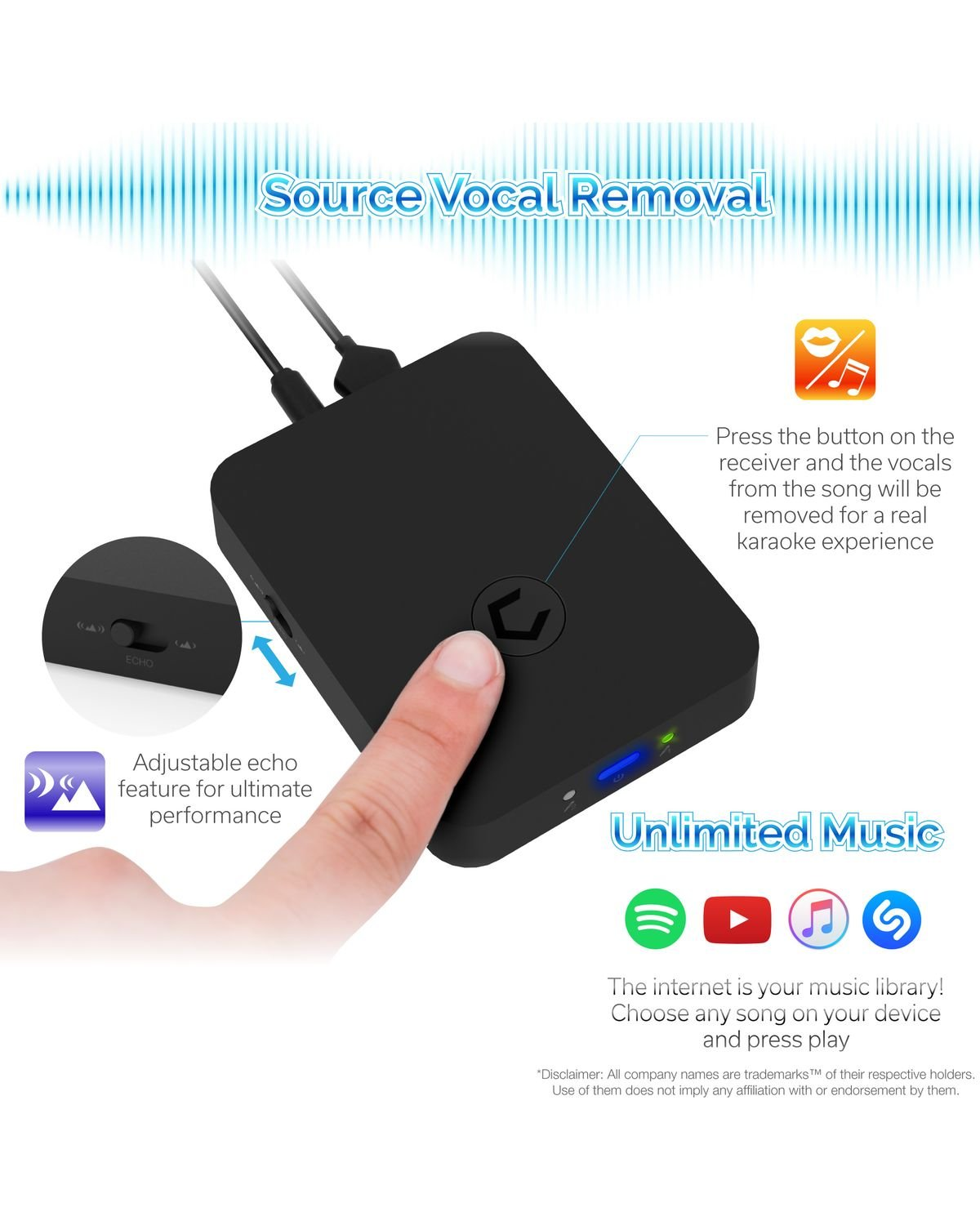 Cobble Pro Wireless Karaoke Microphone 2-pack Mic [Source Vocal Removal Technology][Choose Unlimited Music Source from YouTube, Compatible with iPhone iPad Phone Tablet] New Model BT Speaker Machine by Cobble (Image #3)