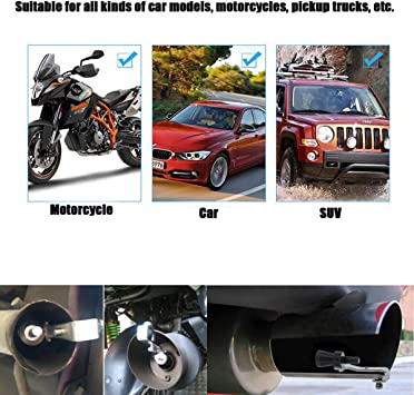 SMKJ Universal Automobile and motorcycle exhaust pipe S whistle Aluminum Car Refit Turbo Whistle Sounder Exhaust Muffler Pipe Whistle