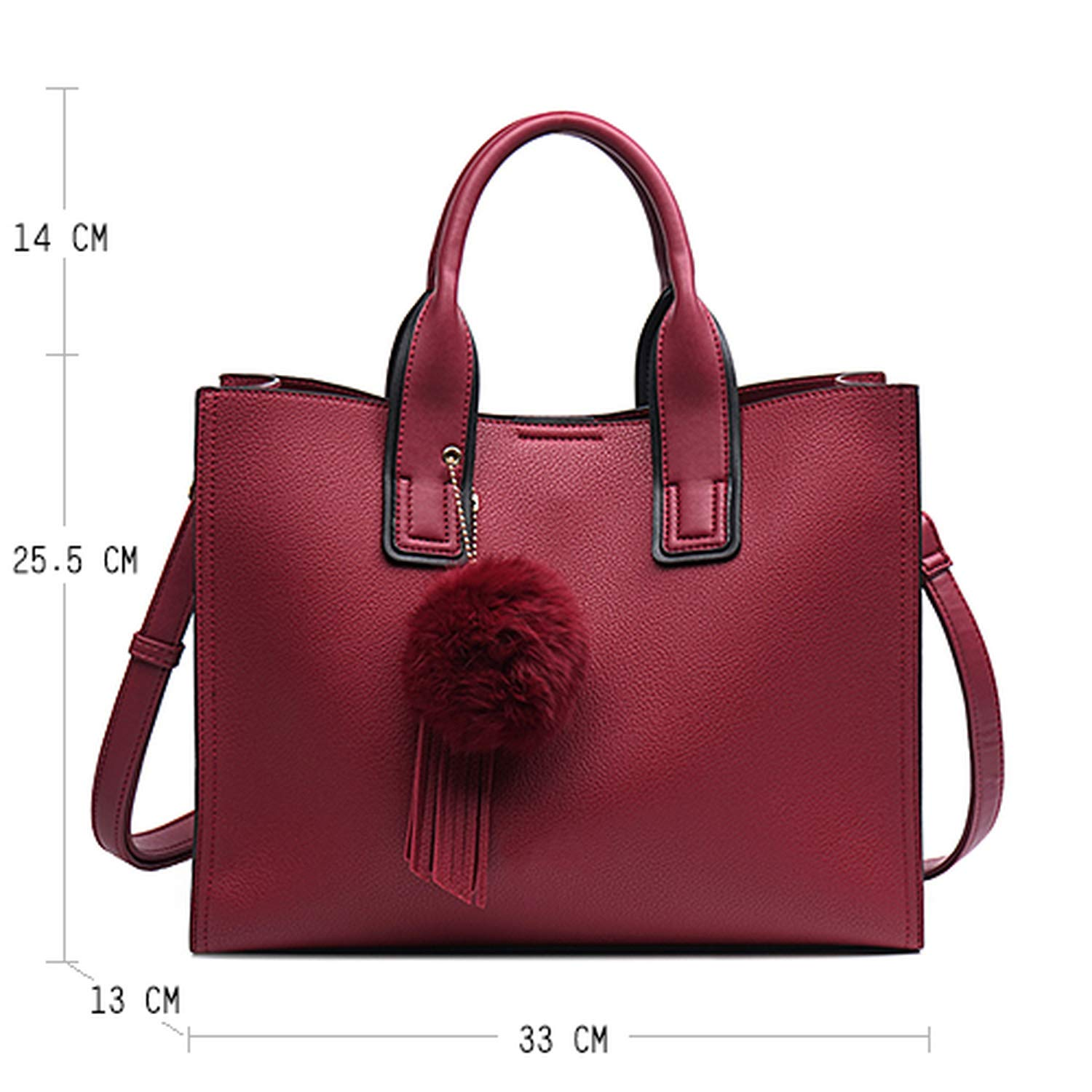 Women Leather Casual Brown Tote bags TOPhandle bag With Tassel and fluffy ball,Red