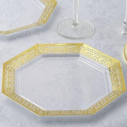 BalsaCircle 24 pcs 8-Inch Clear with Gold Lace Rim Plastic Octagonal Plates - Disposable & Amazon.com: BalsaCircle 24 pcs 8-Inch Clear with Gold Lace Rim ...