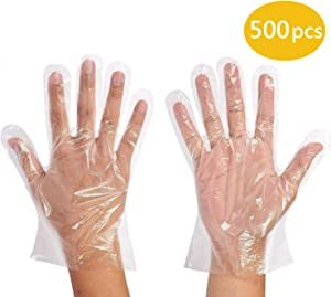 500 Pcs Disposable Plastic Gloves,Food Service Gloves Disposable Food Prep Gloves, Disposable Polyethylene Gloves for Cooking,Food Handling,Powder Free,Safe,Transparent,One Size Fits Most
