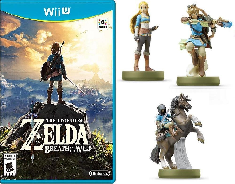 The Legend of Zelda: Breath of the Wild - Nintendo Wii U Bundle with Nintendo Amiibo Breath Of The Wild Figures: Zelda, Link Archer, And Link Rider