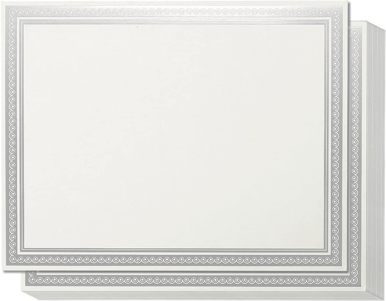 50 Pack Award Certificate Paper Silver Foil Border, Letter Size (Ivory, 8.5 x 11)