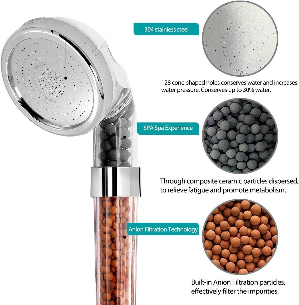 Kusun/® Pomme de douche /à main /à haute pression pour le spa 7 couleurs LED Changer la forte filtration double Pomme de douche /à jet dions n/égatif pour la salle de bains