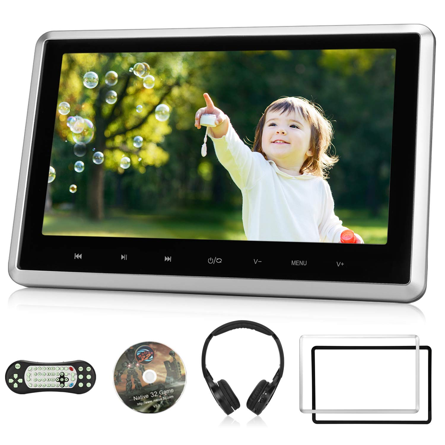 10.1'' Car Headrest DVD Player with Wireless Headphone Support 1080P Video, HDMI Input, Sync Screen, USB SD, AV Out & in, Last Memory - NAVISKAUTO