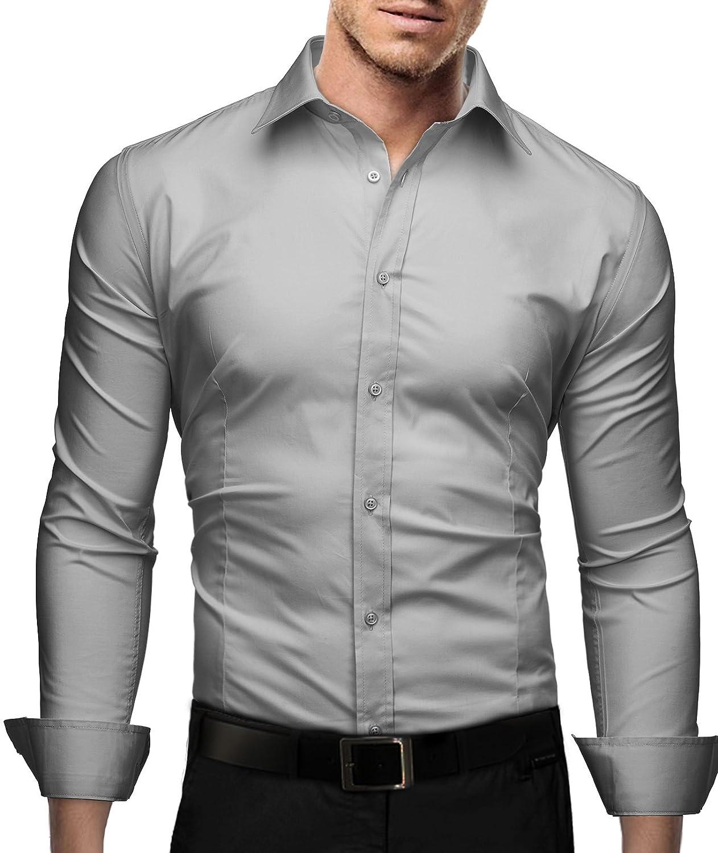 Marco Marcucci Mens Premium Dress Shirt Flim Fit Long Sleeve