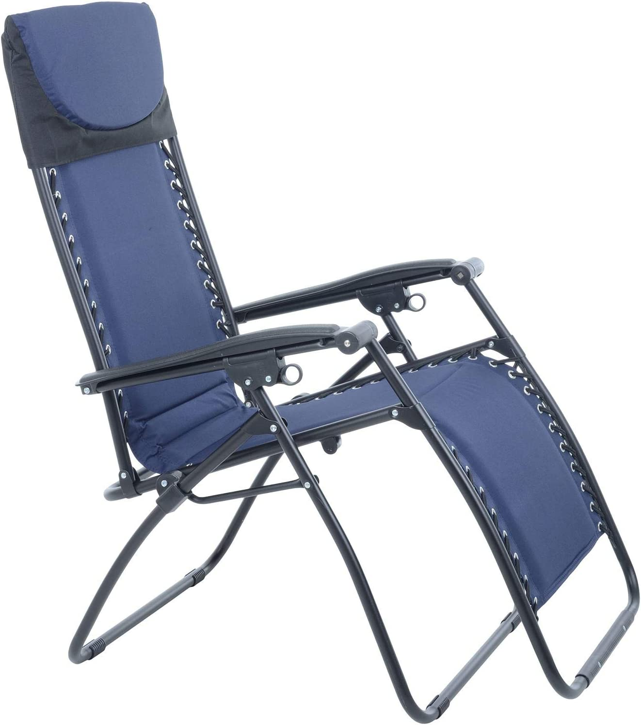 Azuma Garden Chair Navy Blue Padded Zero Gravity Relaxer