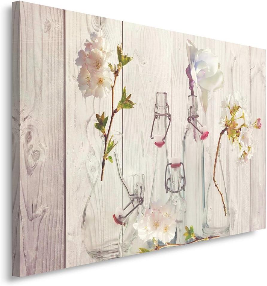 Feeby. Cuadro en Lienzo - 1 Parte - 70x100 cm, Imagen impresión Pintura decoración Cuadros de una Pieza, Flores, Naturaleza, Beige