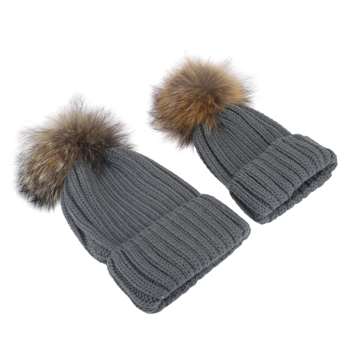 Butterme 2 pezzi Madre e bambino Crochet cappello a maglia cappotto caldo invernale-bambino invernale pipistrello cappello pompom cappello ZUMUii