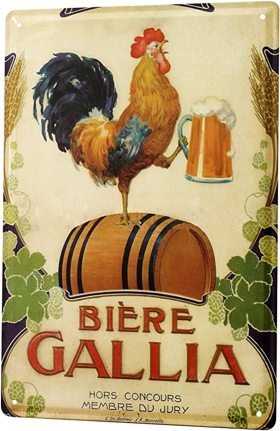 Amazon.com: Cartel de chapa cerveza Bar Pub gallo taza de ...