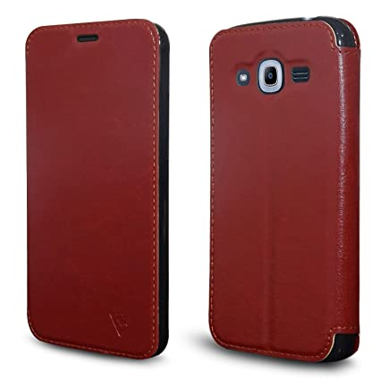 new style ea5b4 fe3ff Ceego Flip Cover for Samsung Galaxy J2 Pro & J2 (2016) (Mocha Brown)