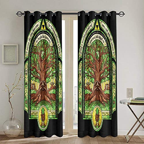 FDASLJ Customized Blackout Window Curtains Deku Tree Legend of Zelda Grommet Thermal Insulated Room Darkening Drape